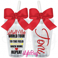 Softball Mom World Tour Personalized Tumbler