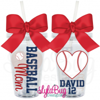 Baseball Mom Heart Personalized Acrylic Tumbler