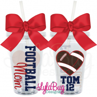Football Mom Heart Personalized Acrylic Tumbler