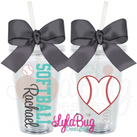 Softball Heart Acrylic Tumbler