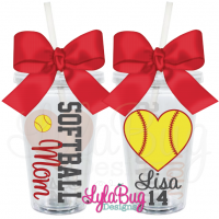 Softball Mom Heart Acrylic Tumbler