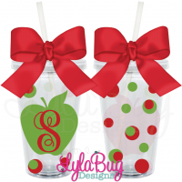 Teacher Initial Apple Tumbler