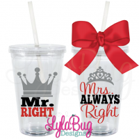 Mr & Mrs Right Tumbler Crown Set