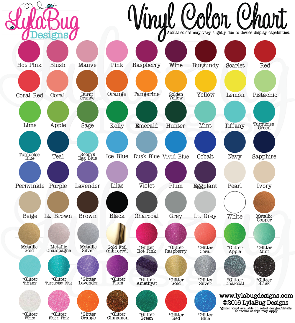 LylaBug Designs Vinyl Color Chart