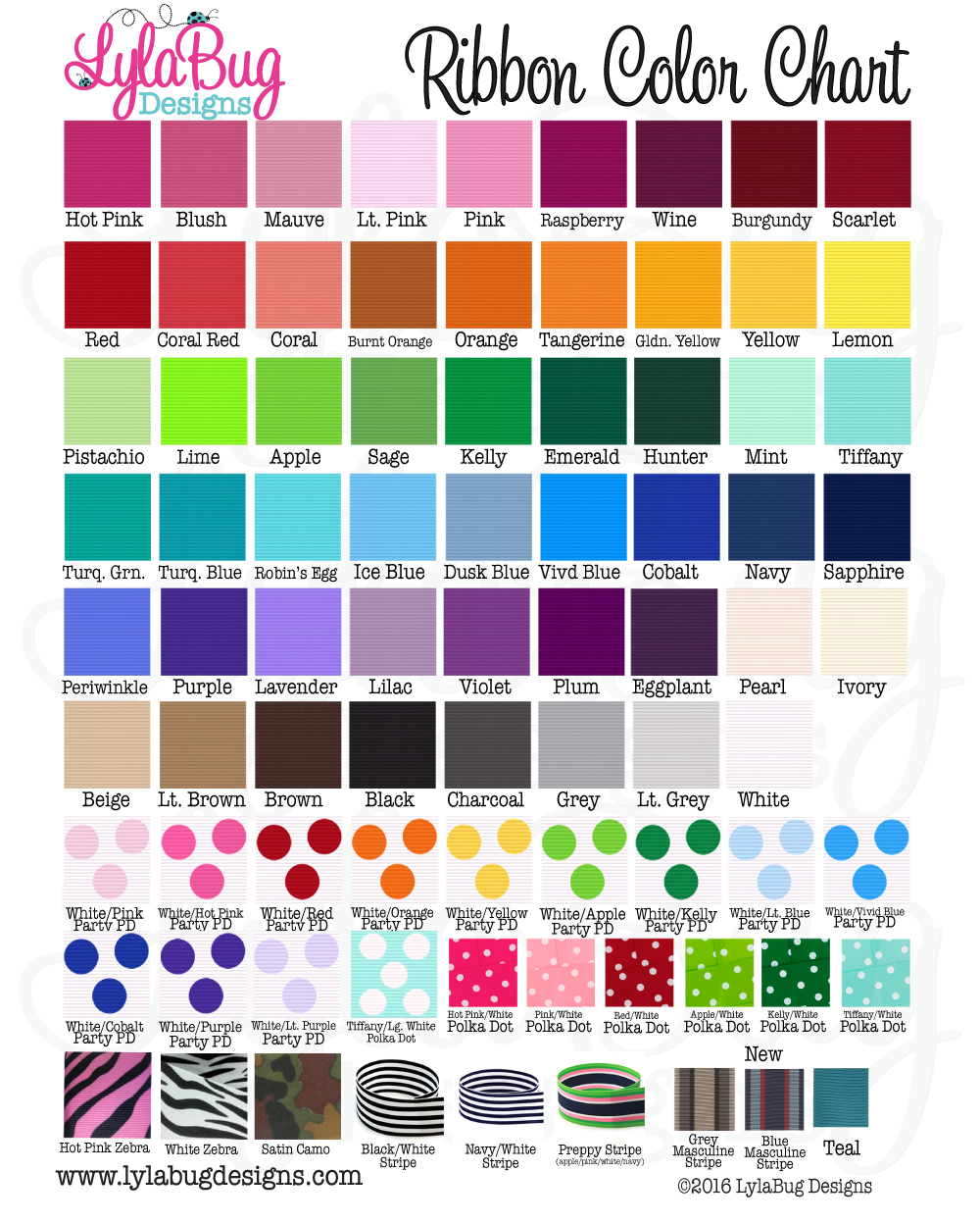 LylaBug Designs Ribbon Color Chart