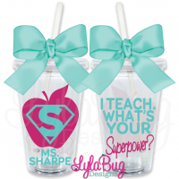 NEW! I Teach. What's Your Superpower? INITIAL Tumbler